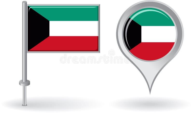 Icône de goupille du Kowéit et drapeau d'indicateur de carte Vecteur illustration stock