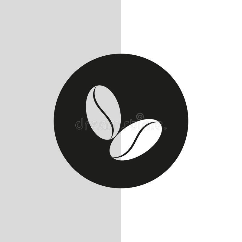 Ic?ne de grain de caf? d'isolement sur le fond blanc Style plat de conception Pictogramme moderne de vecteur pour des graphiques  illustration stock