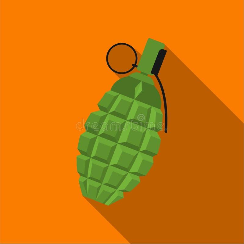 Icône de grenade plate Icône simple d'arme des grandes munitions, bras réglés illustration de vecteur