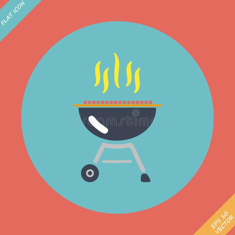 Icône de gril de barbecue - illustration de vecteur plat illustration libre de droits