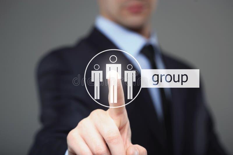 Icône de groupe d'interface de bouton de contact d'homme d'affaires photographie stock libre de droits