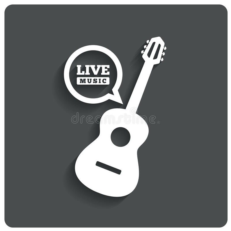Icône de guitare acoustique. Symbole de musique en direct. Icône plate illustration de vecteur