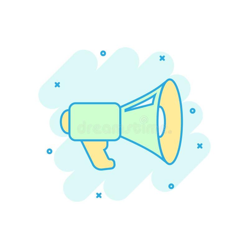 Ic?ne de haut-parleur de m?gaphone dans le style comique Illustration de bande dessinée de vecteur de corne de brume sur le fond  illustration de vecteur