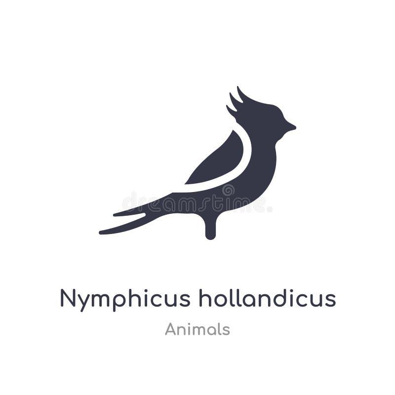 Ic?ne de hollandicus de Nymphicus illustration d'isolement de vecteur d'icône de hollandicus de nymphicus de collection d'animaux illustration de vecteur