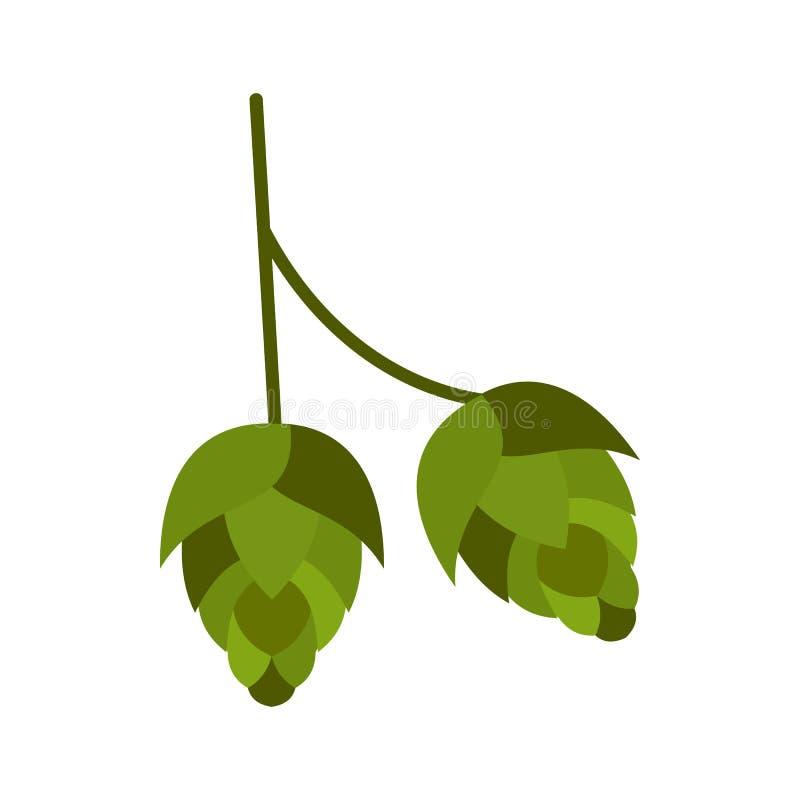 Icône de houblon en cônes, style plat illustration stock