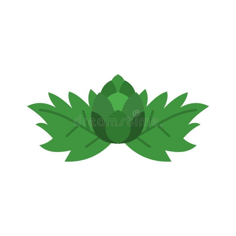 Icône de houblon en cônes, style plat illustration libre de droits