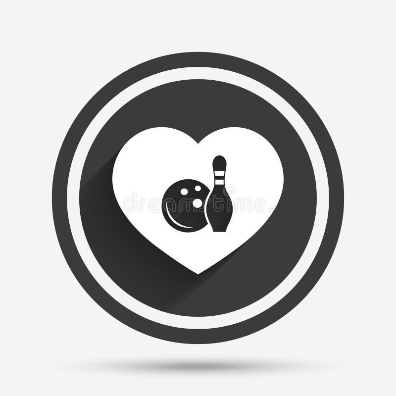 Icône de jeu de bowling d'amour Boule avec la quille de goupille illustration libre de droits