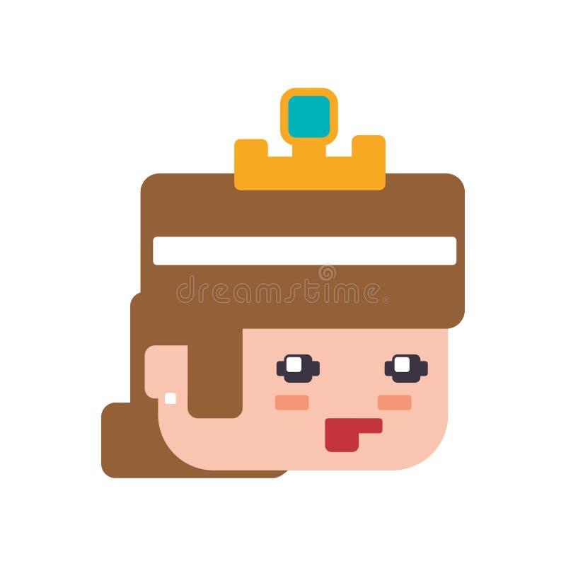 Icône De Jeu De Jeu Vidéo De Pixel De Fille De Princesse