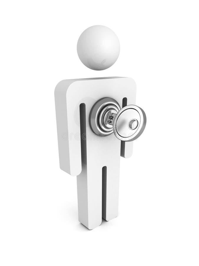 icône de l'homme 3d avec la clé de verrouillage illustration de vecteur