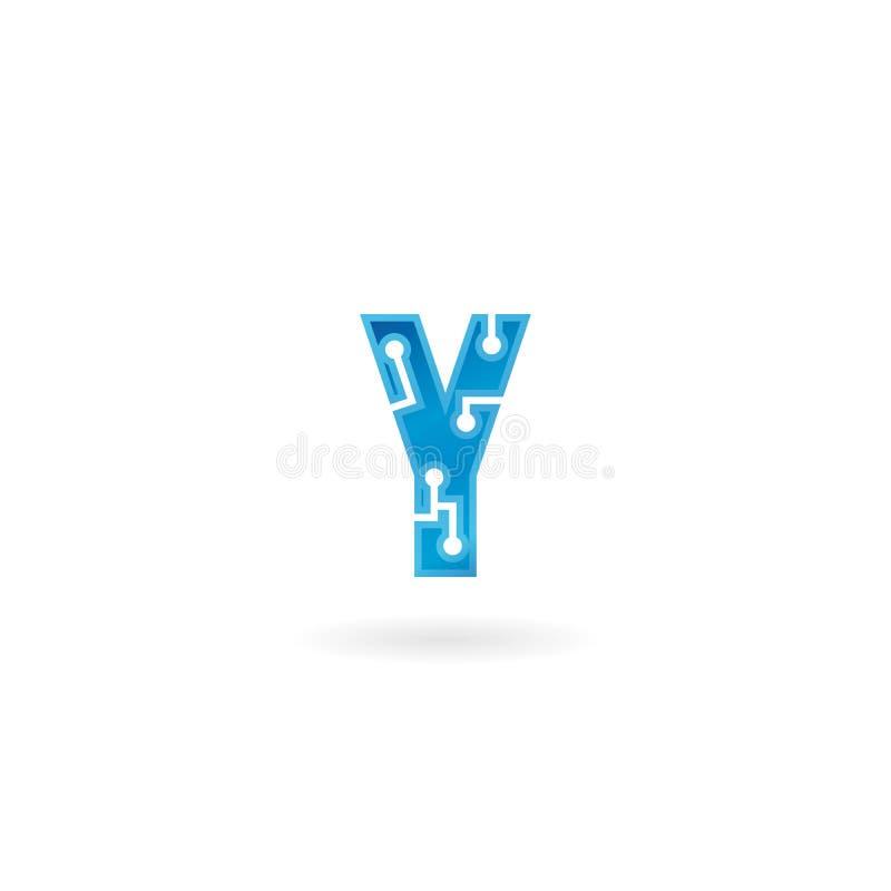 Icône de la lettre Y Le logo futé, l'ordinateur et les données de technologie ont rapporté des affaires, de pointe et innovateur, illustration de vecteur