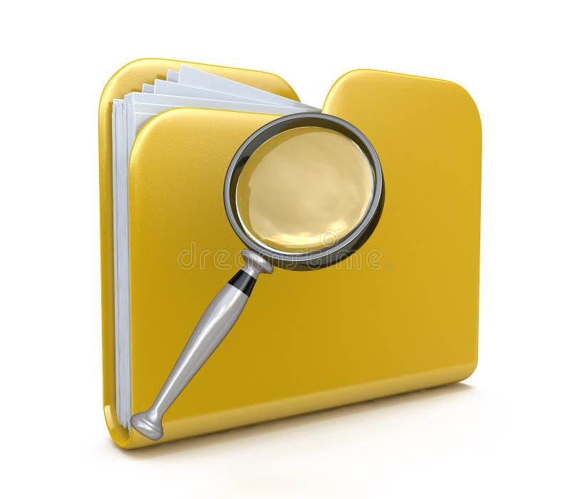 Icône de la recherche 3d de dossier illustration de vecteur