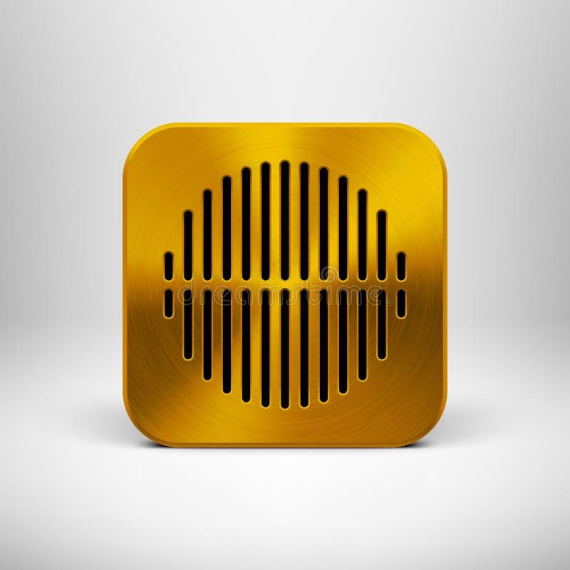 Icône de la technologie APP avec la texture en métal d'or illustration de vecteur