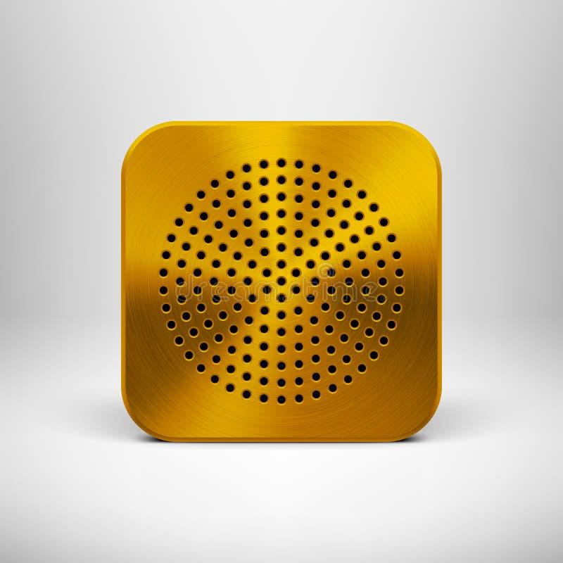 Icône de la technologie APP avec la texture en métal d'or illustration stock