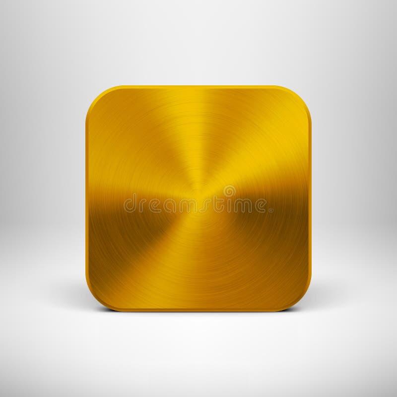 Icône de la technologie APP avec la texture en métal d'or illustration libre de droits