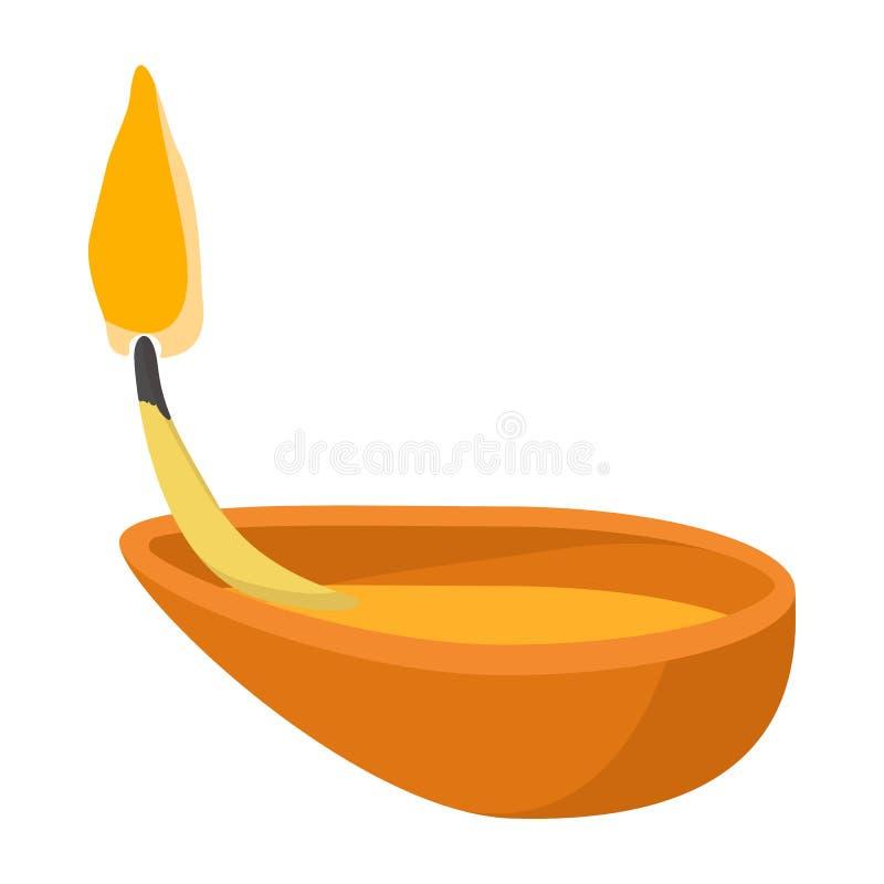 Icône de lampe d'huile de noix de coco, style de bande dessinée illustration de vecteur
