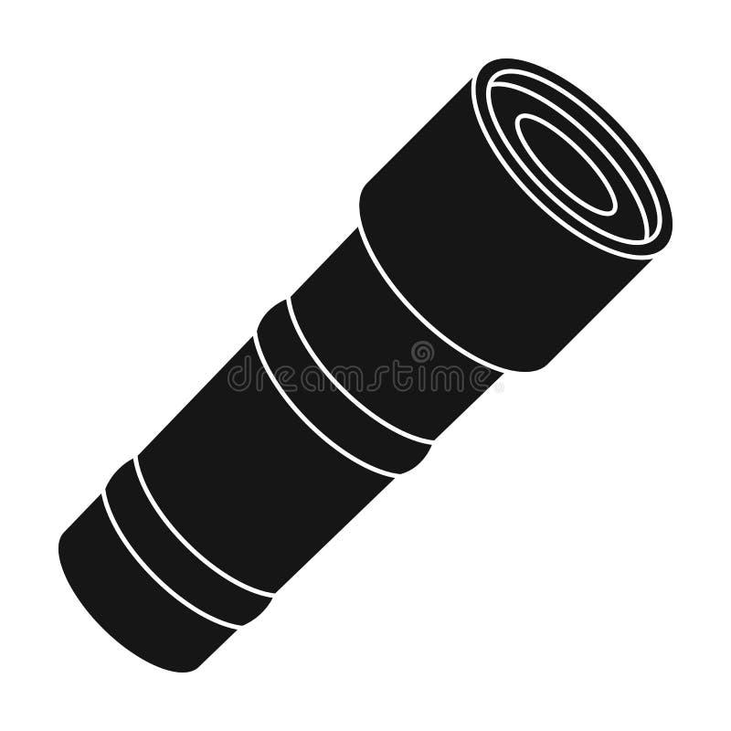 Icône de lampe-torche dans le style noir d'isolement sur le fond blanc Illustration de vecteur d'actions de symbole de police illustration stock