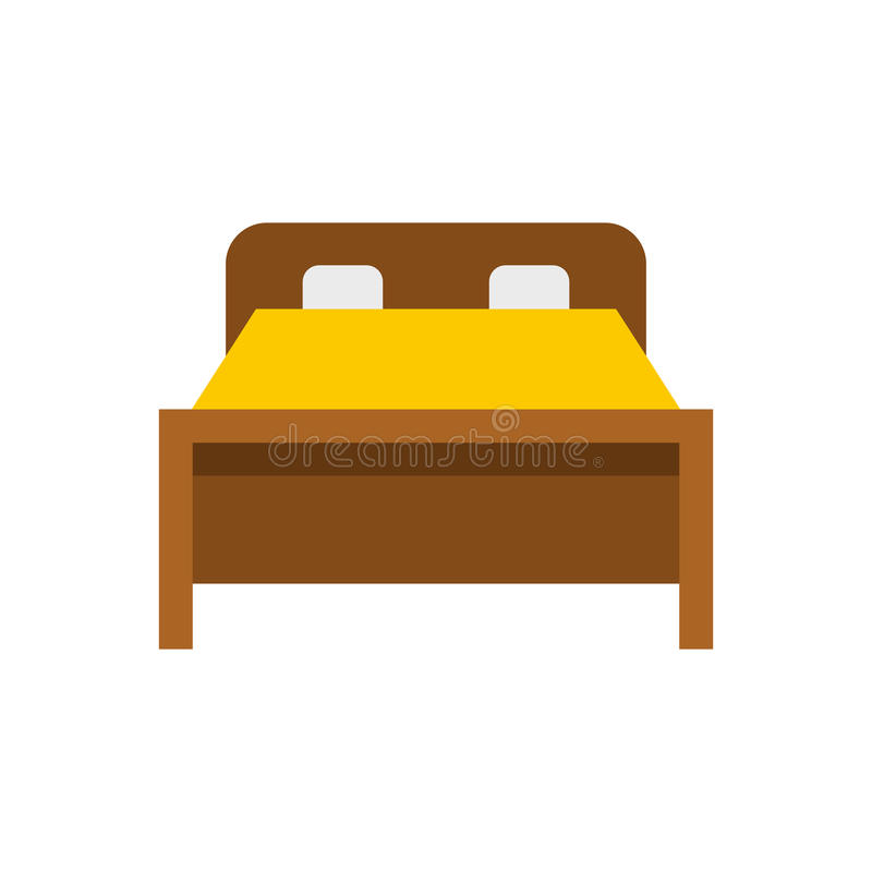 Icône de lit, style plat illustration stock