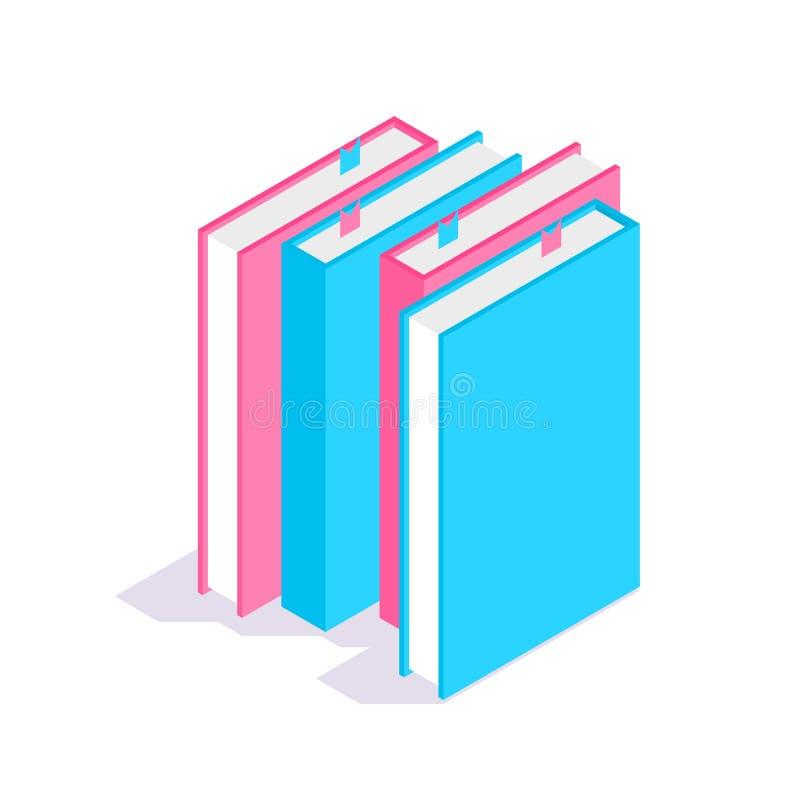 Ic?ne de livre Pile d'illustration isométrique de vecteur des livres 3D Concept d'?tude et d'?ducation illustration de vecteur