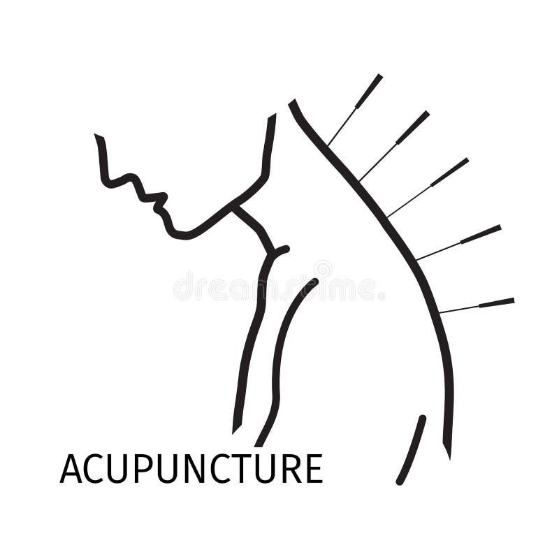 Icône de logo d'acuponcture dans la ligne style illustration de vecteur
