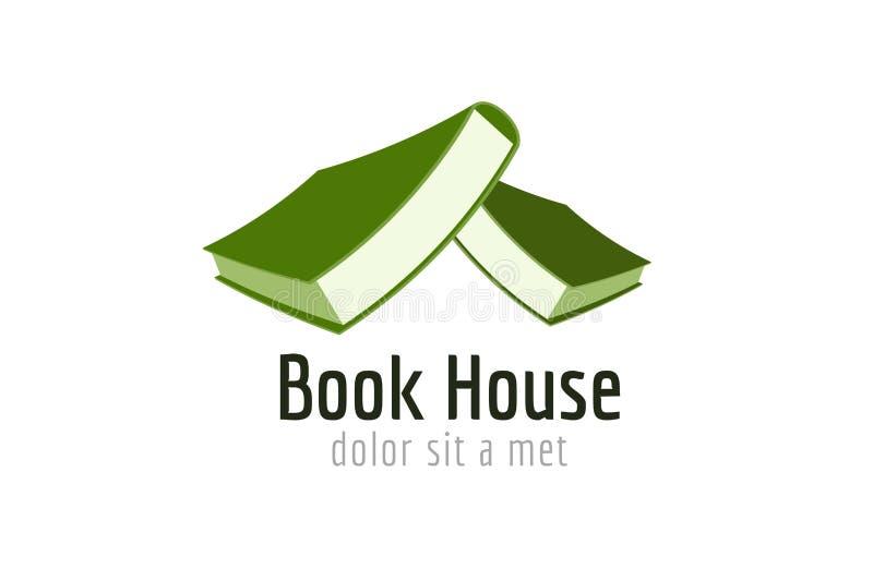 Icône de logo de calibre de toit de maison de livre De nouveau à l'école illustration de vecteur