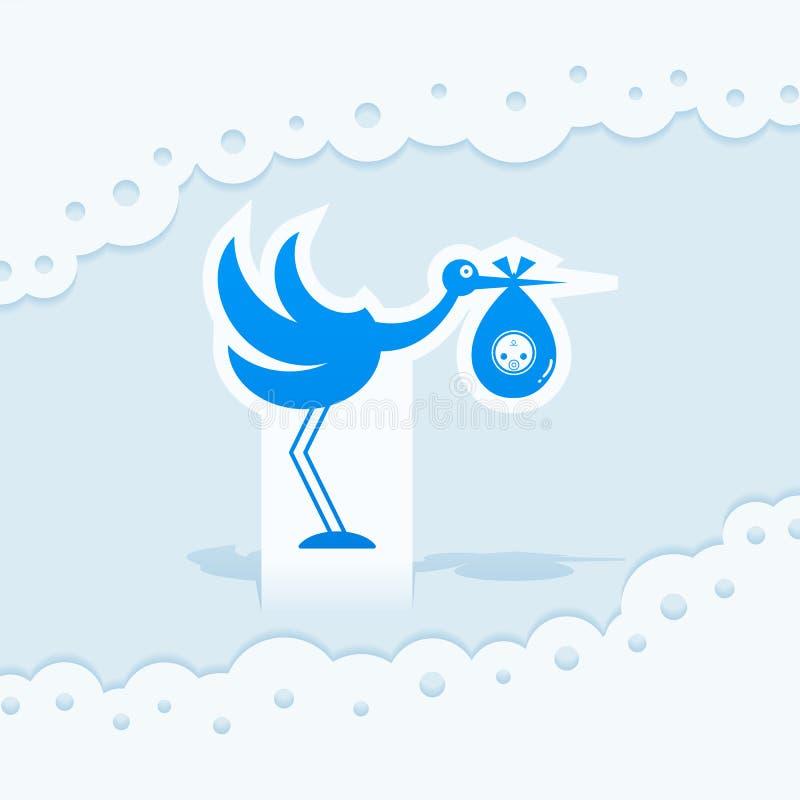 Icône de logo de cigogne d'illustration de jouet de bébé illustration stock
