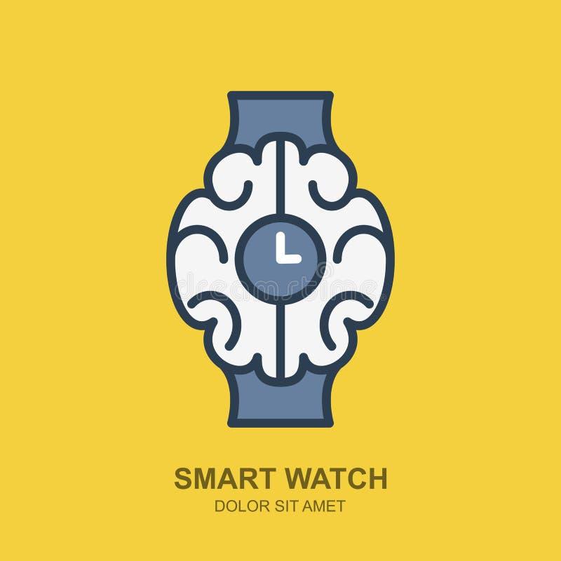 Icône de logo de vecteur avec le cerveau et l'horloge Contour futé de montre plat illustration libre de droits