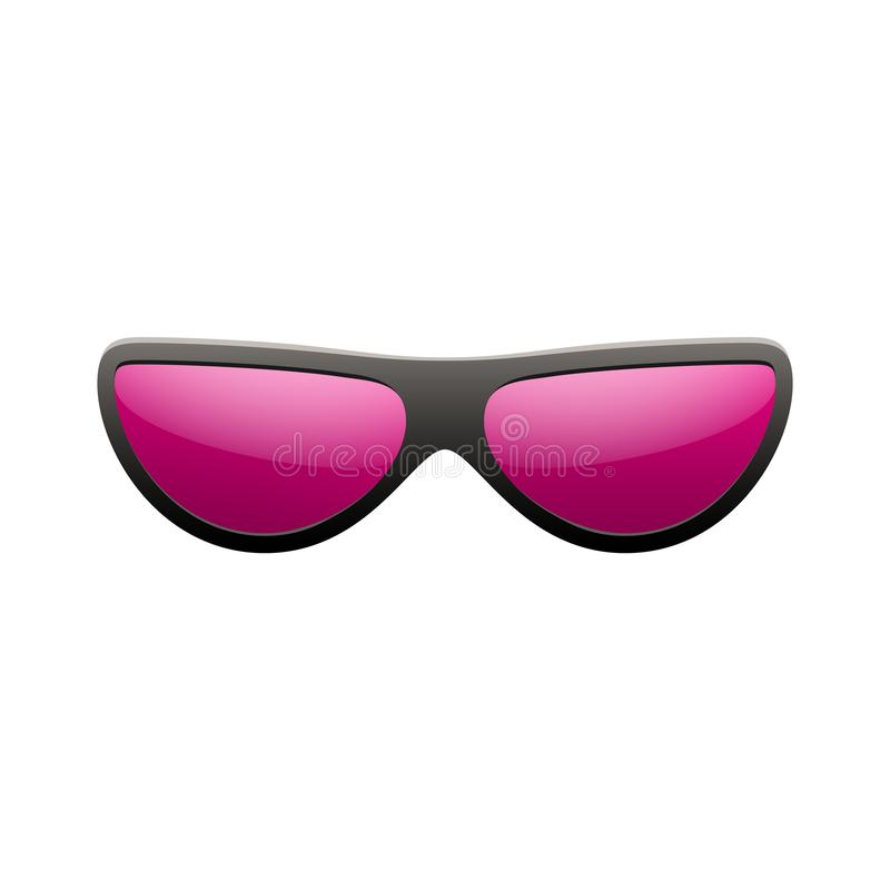 Ic?ne de lunettes de soleil Fond blanc d'isolement rose en verre de soleil Style graphique de cru de rose de mode Optique moderne illustration stock