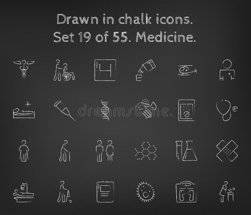 Icône de médecine réglée dessinée dans la craie illustration de vecteur