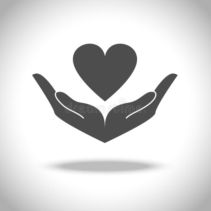 icône de main et de coeur illustration libre de droits