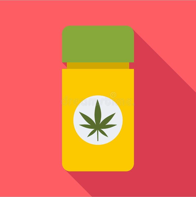 Icône de marijuana de pilules de pot, style plat illustration stock