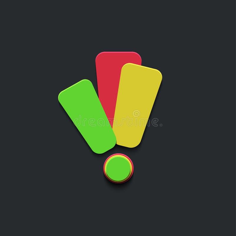 Icône de marque d'exclamation de vecteur sur le noir illustration libre de droits