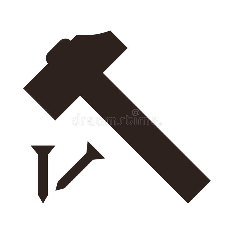 Icône de marteau et de clou illustration libre de droits