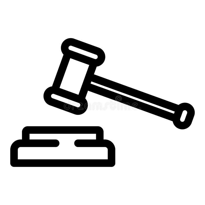 Ic?ne de marteau de juge, style d'ensemble illustration stock