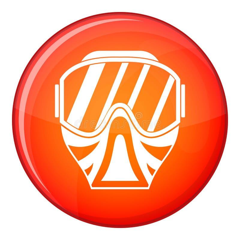Icône de masque de Paintball, style plat illustration de vecteur
