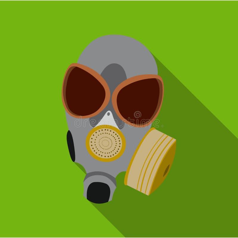 Icône de masques de gaz plate Icône simple d'arme des grandes munitions, bras réglés illustration de vecteur