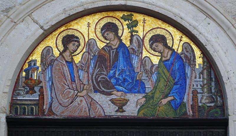 Icône de mosaïque de la trinité sainte photo libre de droits
