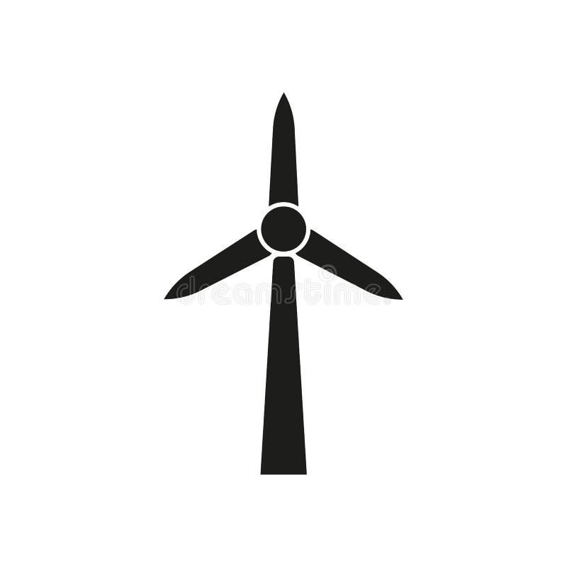 Icône de moulin à vent Puissance et renouvelable, générateur, symbole d'écologie Conception plate Actions - vecteur illustration stock