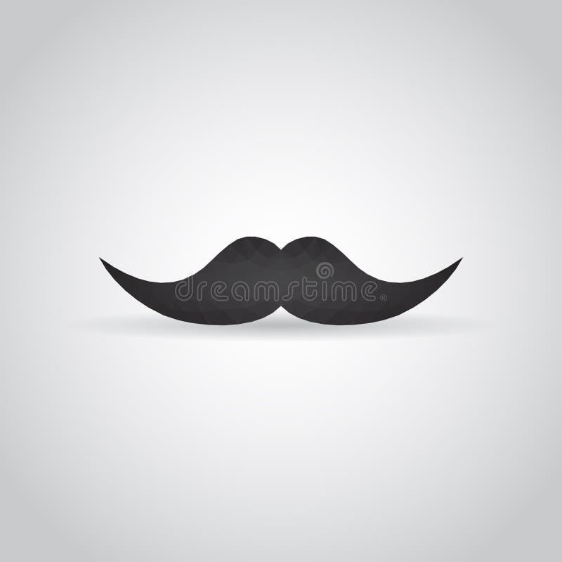 Icône de moustache dans le style polygonal avec l'ombre sur un fond gris Illustration EPS10 de vecteur illustration de vecteur