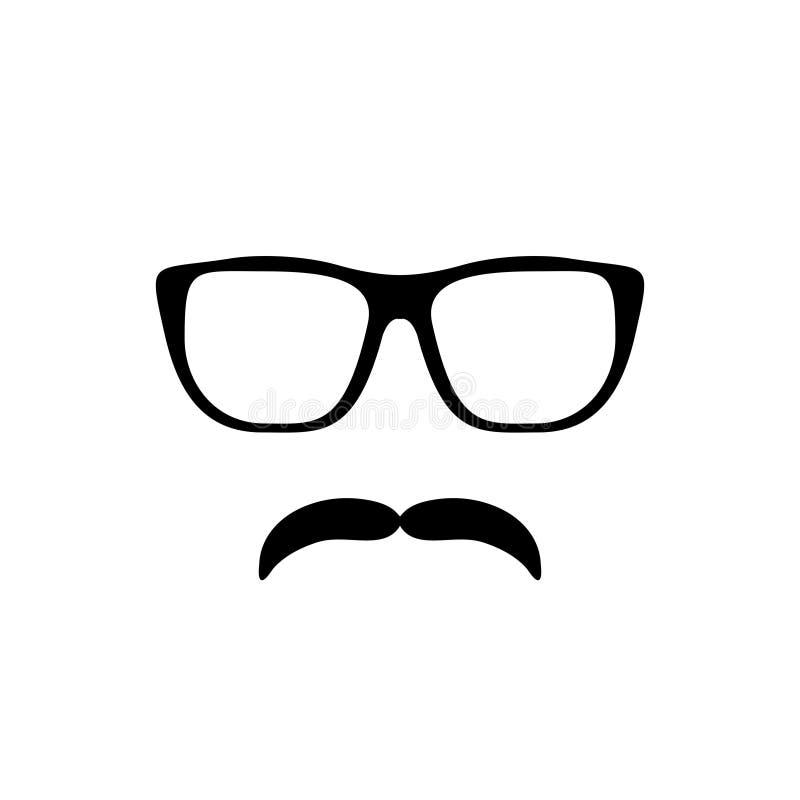 Icône de moustache et en verre illustration stock