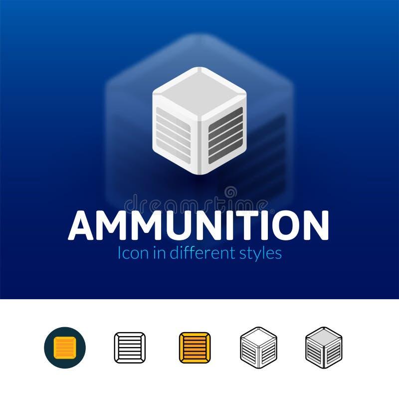 Icône de munitions dans le style différent illustration stock