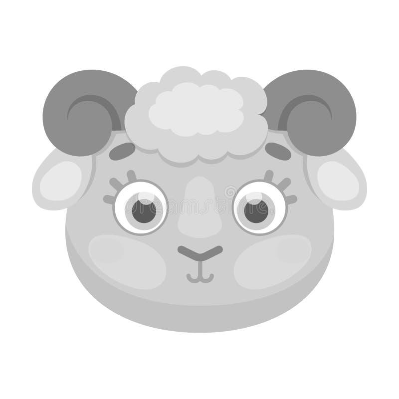 Icône de museau de Ram dans le style monochrome d'isolement sur le fond blanc Illustration animale de vecteur d'actions de symbol illustration stock