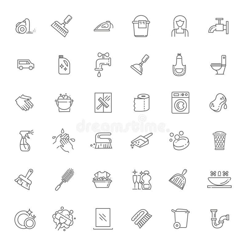 Icône de nettoyage d'ensemble de vecteur illustration stock