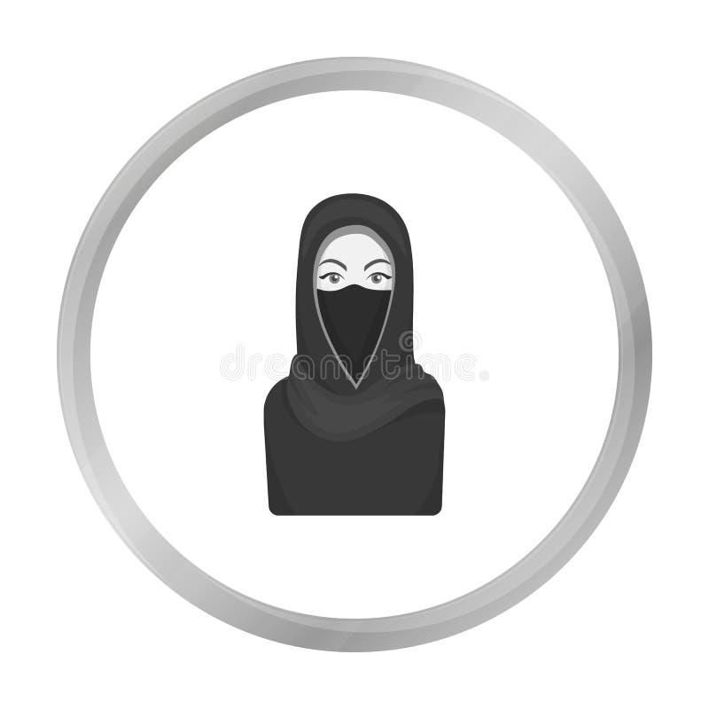 Icône de Niqab dans le style monochrome d'isolement sur le blanc Symbole de religion illustration stock
