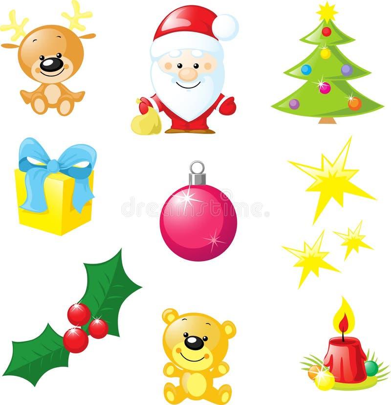 Icône de Noël - Santa, arbre de Noël, bougie, renne illustration libre de droits