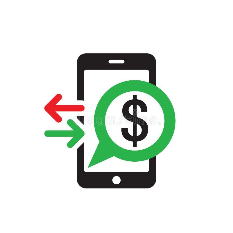 Ic?ne de paiement de t?l?phone portable dans le style plat Dollar d'argent de Digital - dirigez l'illustration de calibre de logo images stock