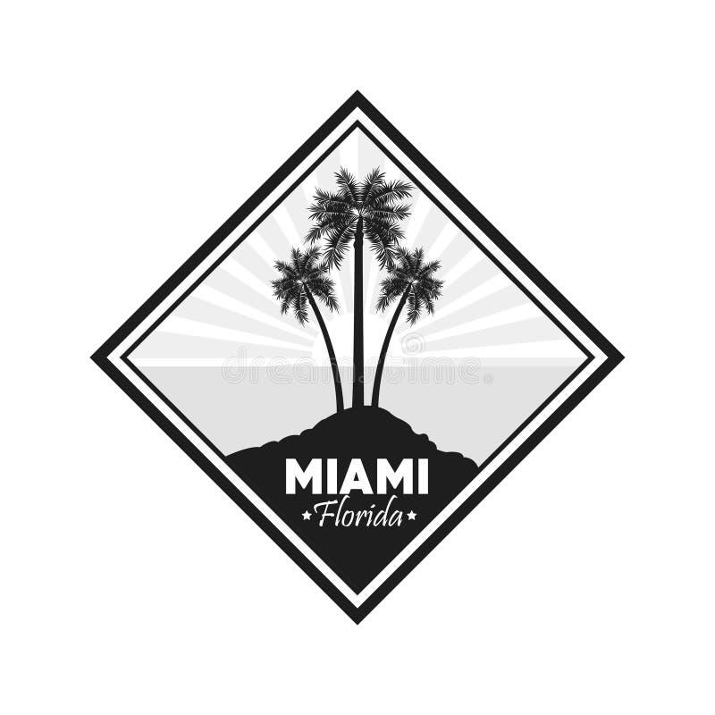 Icône de palmier Conception de Miami la Floride Dessin de vecteur illustration de vecteur