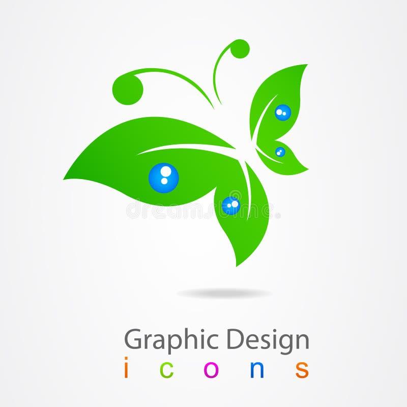 Icône de papillon de logo de conception graphique illustration libre de droits