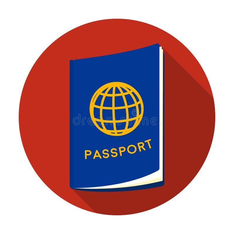 Icône de passeport dans le style plat d'isolement sur le fond blanc Illustration de repos et de vecteur d'actions de symbole de v illustration stock