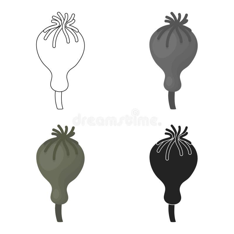 Icône de pavot à opium dans le style de bande dessinée d'isolement sur le fond blanc Dope l'illustration courante de vecteur de s illustration libre de droits