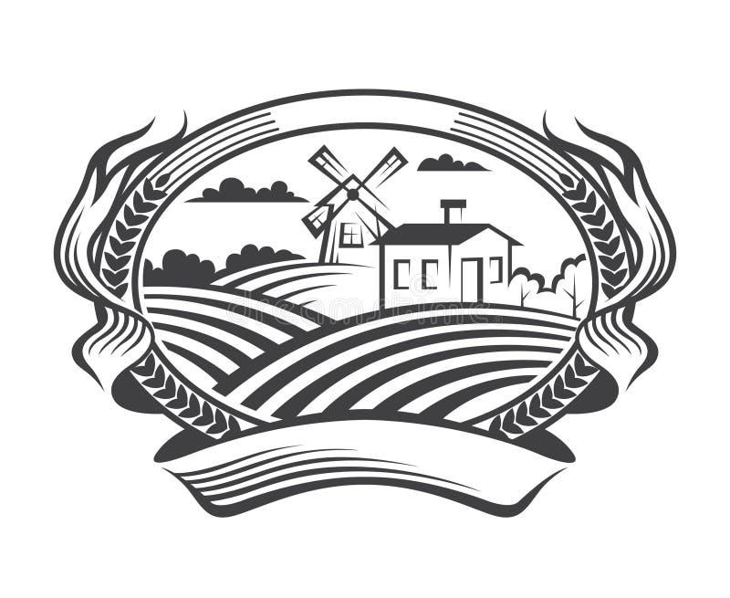 Icône de paysage d'agriculture illustration stock